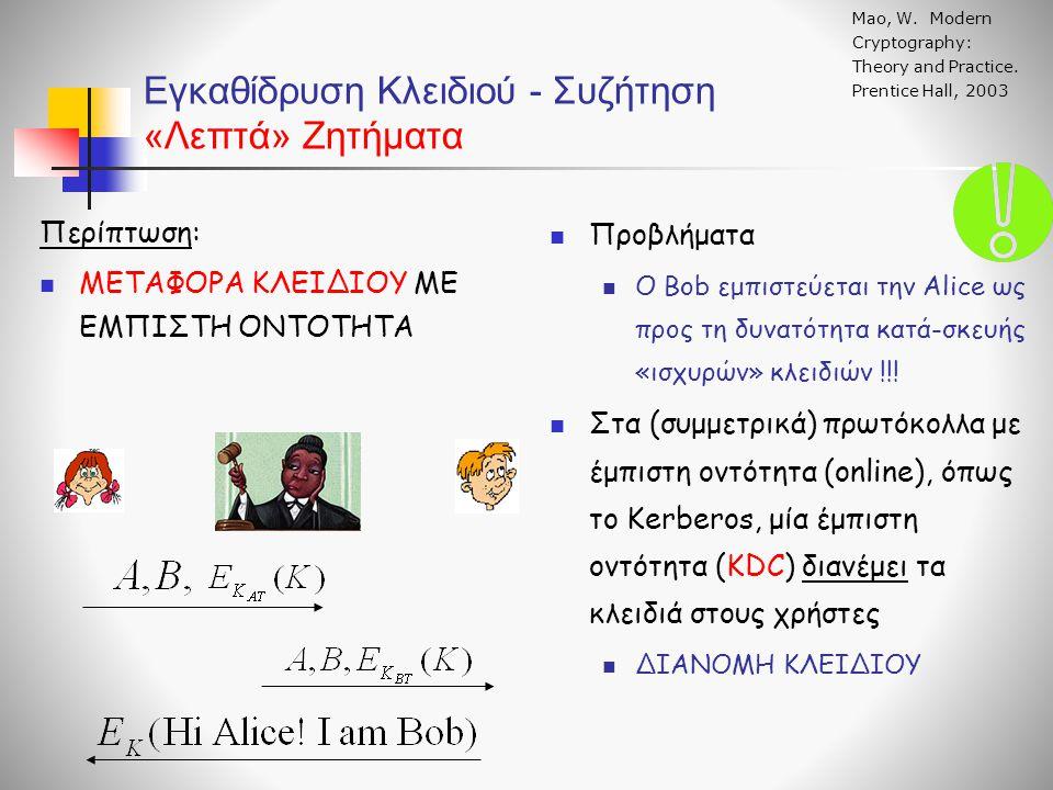 Εγκαθίδρυση Κλειδιού - Συζήτηση «Λεπτά» Ζητήματα Mao, W. Modern Cryptography: Theory and Practice. Prentice Hall, 2003 Προβλήματα Ο Bob εμπιστεύεται τ