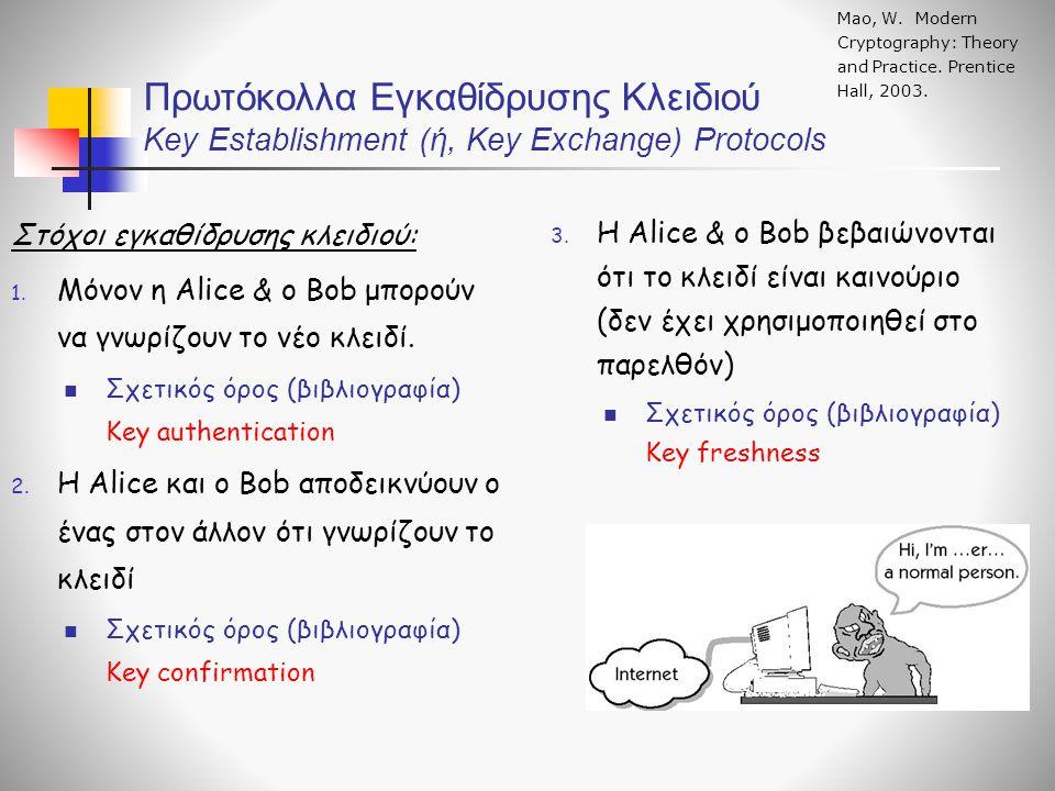 Μεταφορά Κλειδιού με Συμμετρική Κρυπτογραφία Πρωτόκολλο 2 – Εναλλακτικό Αυθεντικοποίηση της Alice και μεταφορά του κλειδιού συνόδου Menezes, Oorschot, Vanstone, Handbook of Applied Cryptography, CRC, 2001 (Χρήση χρονοσημάνσεων – timestamps) Πρωτόκολλο 3- Αμοιβαία αυθεντικοποίηση και μεταφορά του κλειδιού συνόδου Ουσιαστικά, το πρωτόκολλο πλέον μετατρέπεται σε πρωτόκολλο ανταλλαγής κλειδιού - εφόσον το κλειδί συνόδου φτιάχνεται από τα r A και r B, που συνεισφέρουν και οι δύο