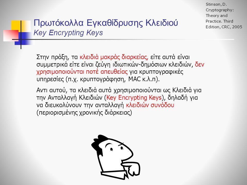 Πρωτόκολλα Εγκαθίδρυσης Κλειδιού Key Encrypting Keys Stinson, D. Cryptography: Theory and Practice. Third Edition, CRC, 2005 Στην πράξη, τα κλειδιά μα