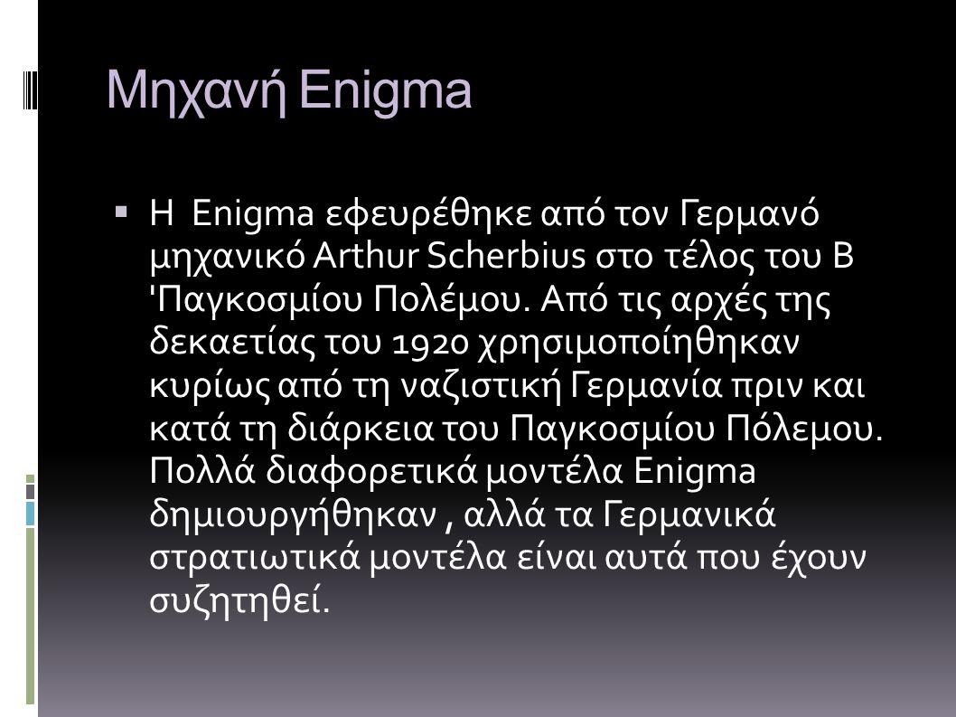 Μηχανή Enigma ΗΗ Enigma εφευρέθηκε από τον Γερμανό μηχανικό Arthur Scherbius στο τέλος του Β 'Παγκοσμίου Πολέμου. Aπό τις αρχές της δεκαετίας του 19