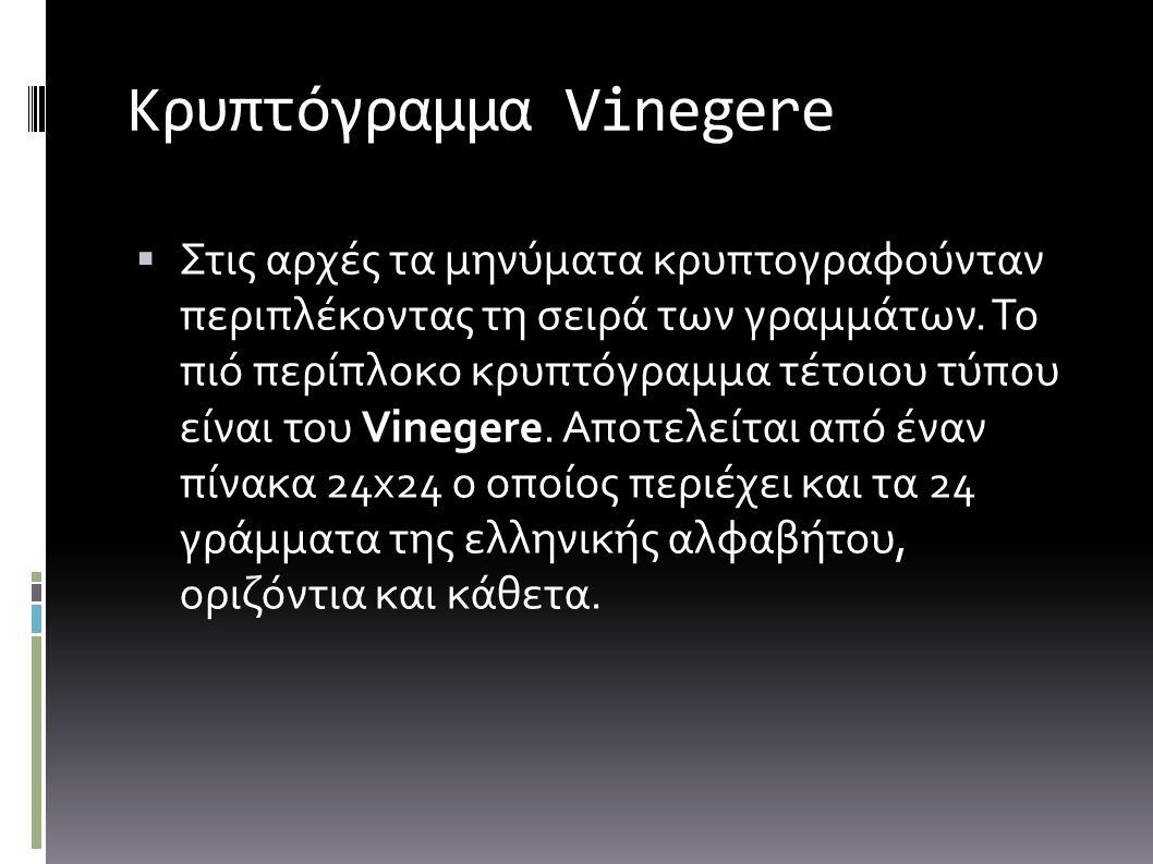 Κρυπτόγραμμα Vinegere ΣΣτις αρχές τα μηνύματα κρυπτογραφούνταν περιπλέκοντας τη σειρά των γραμμάτων. Το πιό περίπλοκο κρυπτόγραμμα τέτοιου τύπου είν