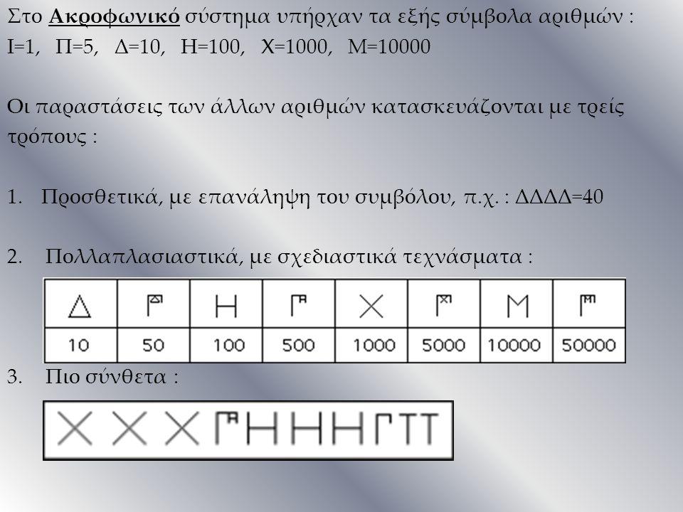 Στο Ακροφωνικό σύστημα υπήρχαν τα εξής σύμβολα αριθμών : Ι=1, Π=5, Δ=10, Η=100, Χ=1000, Μ=10000 Οι παραστάσεις των άλλων αριθμών κατασκευάζονται με τρ