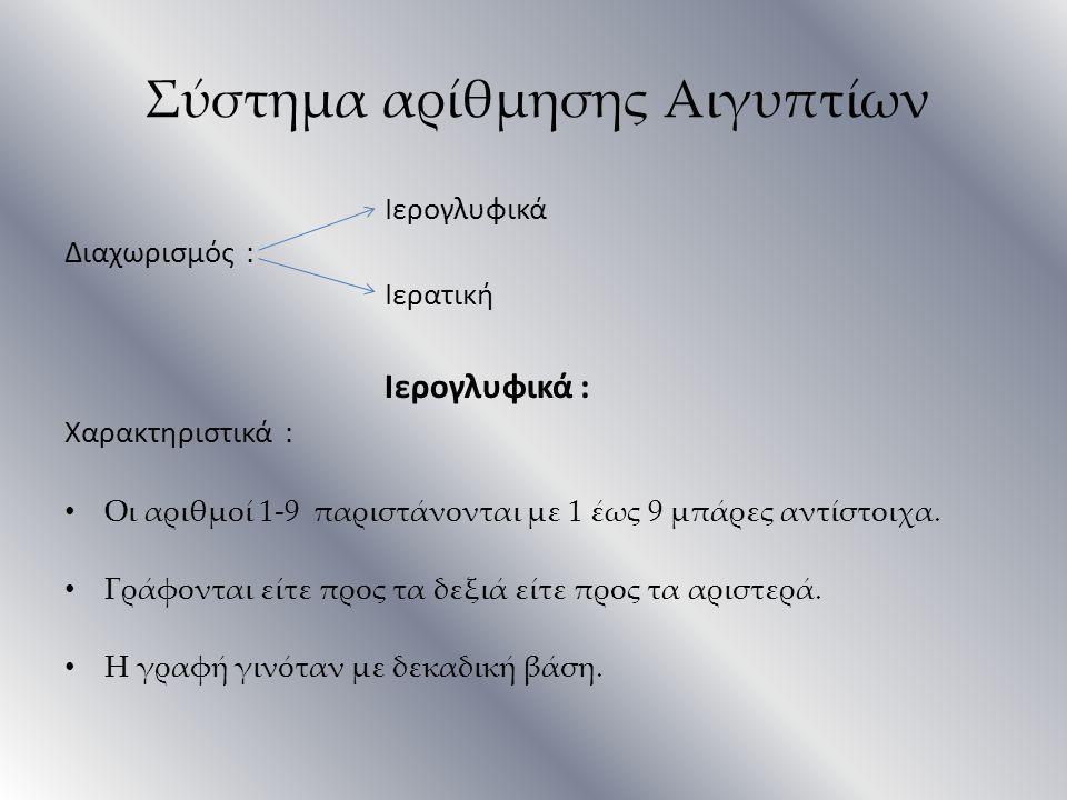 Ιερογλυφικά Διαχωρισμός : Ιερατική Ιερογλυφικά : Χαρακτηριστικά : Οι αριθμοί 1-9 παριστάνονται με 1 έως 9 μπάρες αντίστοιχα. Γράφονται είτε προς τα δε