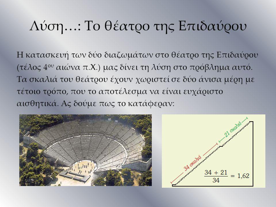 Λύση…: Το θέατρο της Επιδαύρου Η κατασκευή των δύο διαζωμάτων στο θέατρο της Επιδαύρου (τέλος 4 ου αιώνα π.Χ.) μας δίνει τη λύση στο πρόβλημα αυτό. Τα