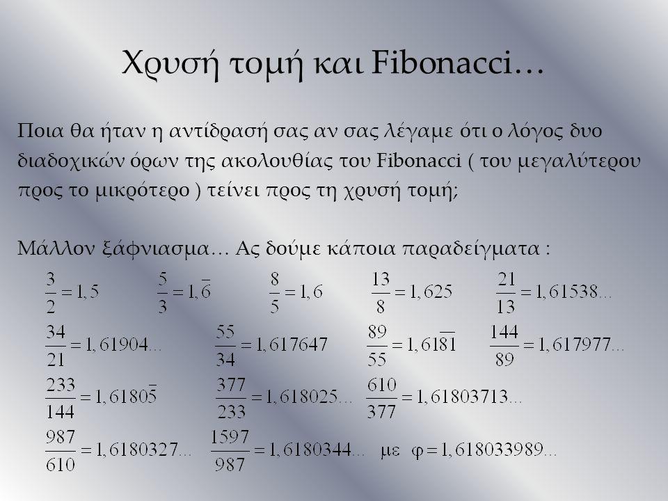 Χρυσή τομή και Fibonacci… Ποια θα ήταν η αντίδρασή σας αν σας λέγαμε ότι ο λόγος δυο διαδοχικών όρων της ακολουθίας του Fibonacci ( του μεγαλύτερου πρ