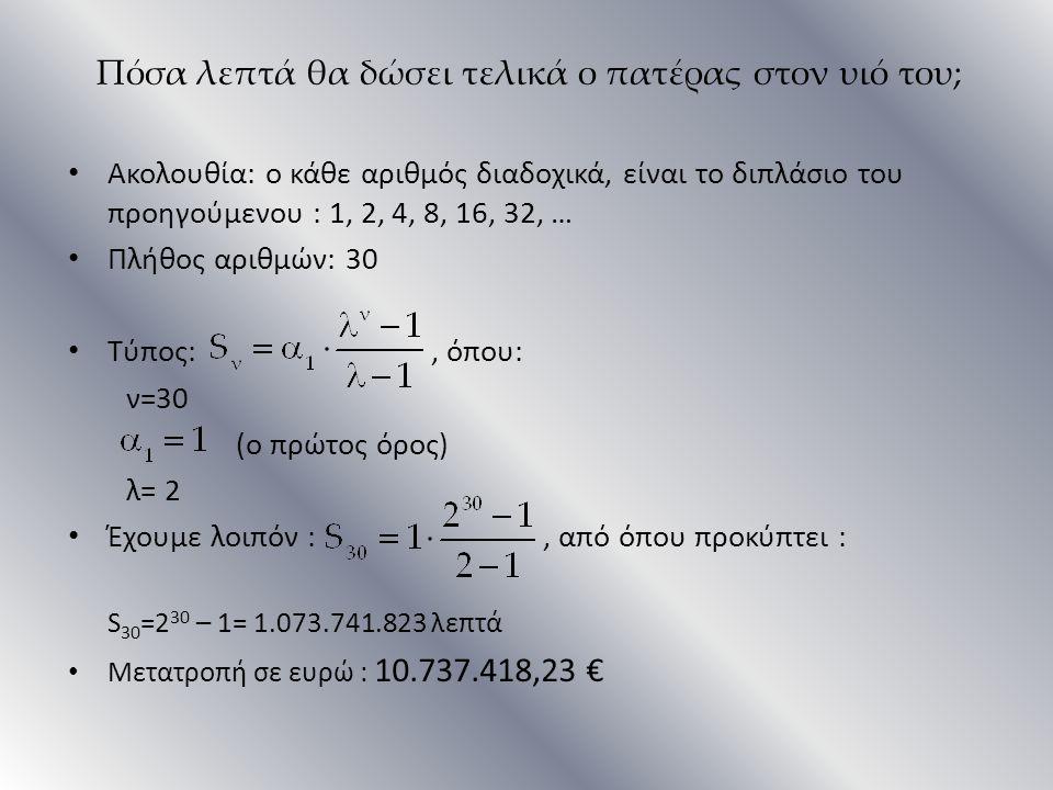 Πόσα λεπτά θα δώσει τελικά ο πατέρας στον υιό του; Ακολουθία: ο κάθε αριθμός διαδοχικά, είναι το διπλάσιο του προηγούμενου : 1, 2, 4, 8, 16, 32, … Πλή