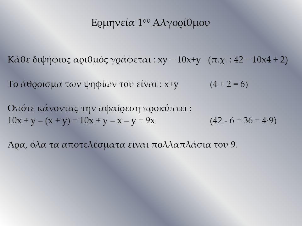Ερμηνεία 1 ου Αλγορίθμου Κάθε διψήφιος αριθμός γράφεται : xy = 10x+y (π.χ. : 42 = 10x4 + 2) Το άθροισμα των ψηφίων του είναι : x+y (4 + 2 = 6) Οπότε κ