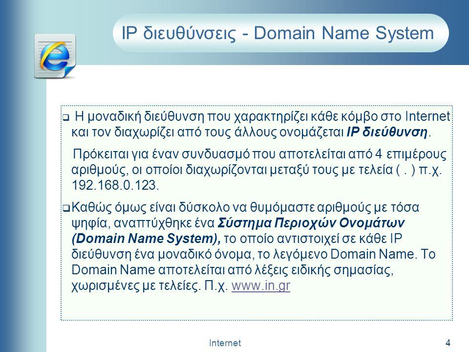 Internet 4 IP διευθύνσεις - Domain Name System  Η μοναδική διεύθυνση που χαρακτηρίζει κάθε κόμβο στο Internet και τον διαχωρίζει από τους άλλους ονομ