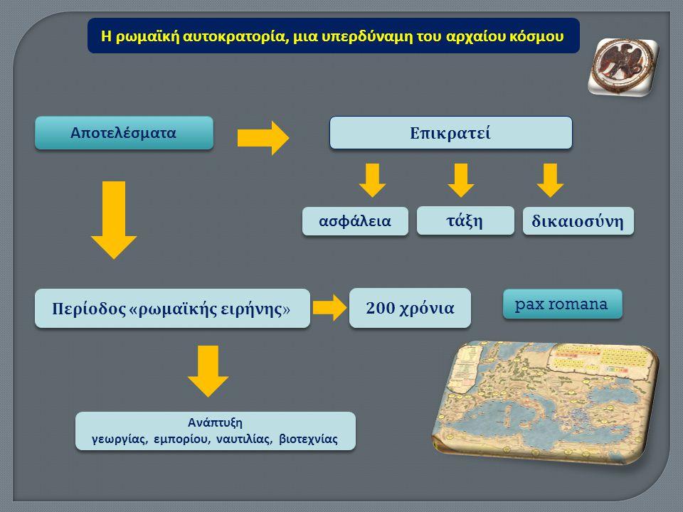 Αποτελέσματα Ε π ικρατεί ασφάλεια 200 χρόνια τάξη Περίοδος « ρωμαϊκής ειρήνης » δικαιοσύνη Ανάπτυξη γεωργίας, εμπορίου, ναυτιλίας, βιοτεχνίας Ανάπτυξη