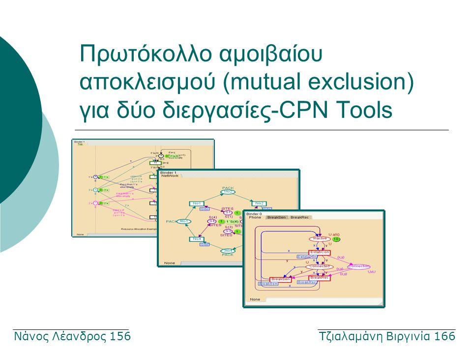 Πρωτόκολλο αμοιβαίου αποκλεισμού (mutual exclusion) για δύο διεργασίες-CPN Tools Νάνος Λέανδρος 156 Τζιαλαμάνη Βιργινία 166
