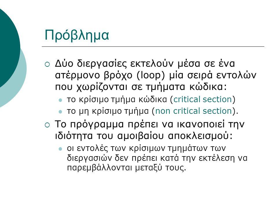 Πρόβλημα  Δύο διεργασίες εκτελούν μέσα σε ένα ατέρμονο βρόχο (loop) μία σειρά εντολών που χωρίζονται σε τμήματα κώδικα: το κρίσιμο τμήμα κώδικα (critical section) το μη κρίσιμο τμήμα (non critical section).