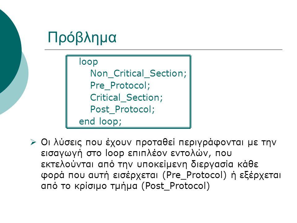 Πρόβλημα loop Non_Critical_Section; Pre_Protocol; Critical_Section; Post_Protocol; end loop;  Οι λύσεις που έχουν προταθεί περιγράφονται με την εισαγωγή στο loop επιπλέον εντολών, που εκτελούνται από την υποκείμενη διεργασία κάθε φορά που αυτή εισέρχεται (Pre_Protocol) ή εξέρχεται από το κρίσιμο τμήμα (Post_Protocol)