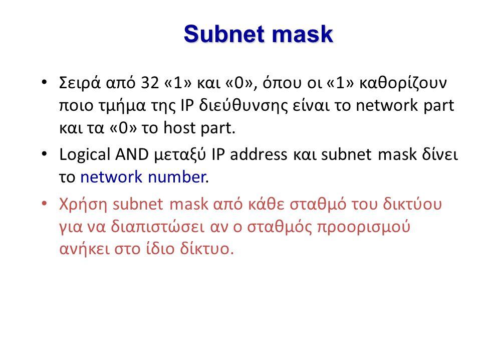 Subnet mask Σειρά από 32 «1» και «0», όπου οι «1» καθορίζουν ποιο τμήμα της IP διεύθυνσης είναι το network part και τα «0» το host part. Logical AND μ
