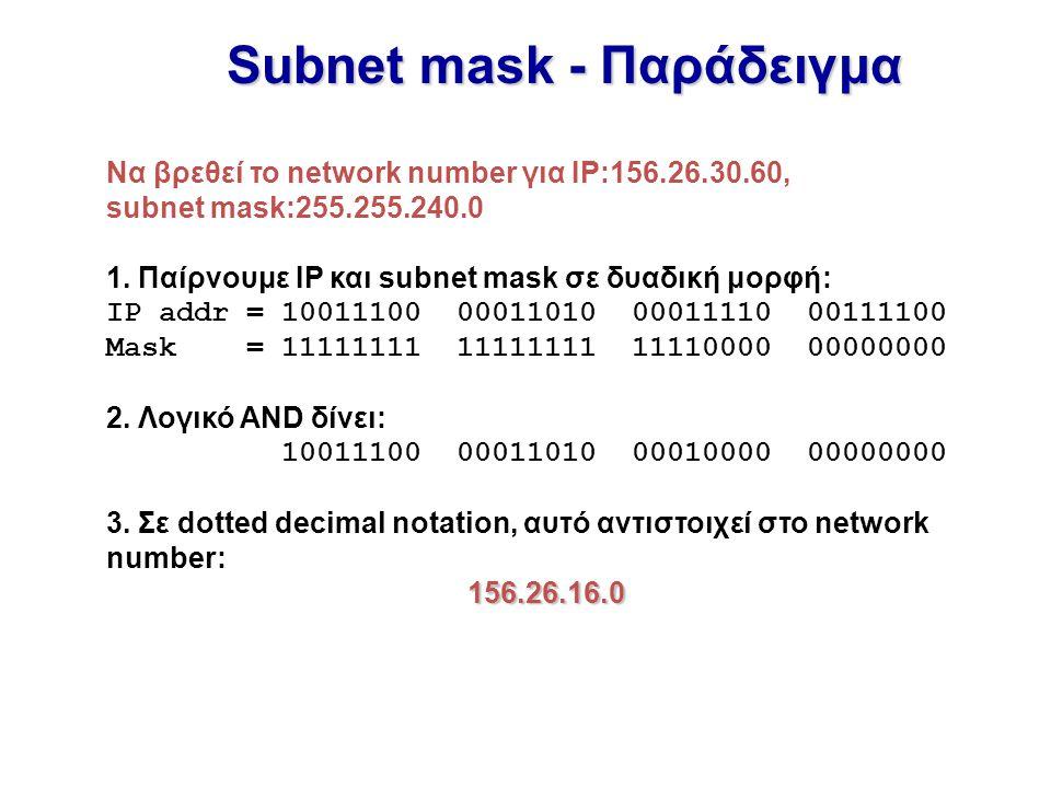 Subnet mask - Παράδειγμα Να βρεθεί το network number για IP:156.26.30.60, subnet mask:255.255.240.0 1. Παίρνουμε IP και subnet mask σε δυαδική μορφή: