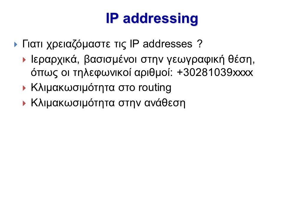 IP addressing  Γιατι χρειαζόμαστε τις IP addresses ?  Ιεραρχικά, βασισμένοι στην γεωγραφική θέση, όπως οι τηλεφωνικοί αριθμοί: +30281039xxxx  Κλιμα