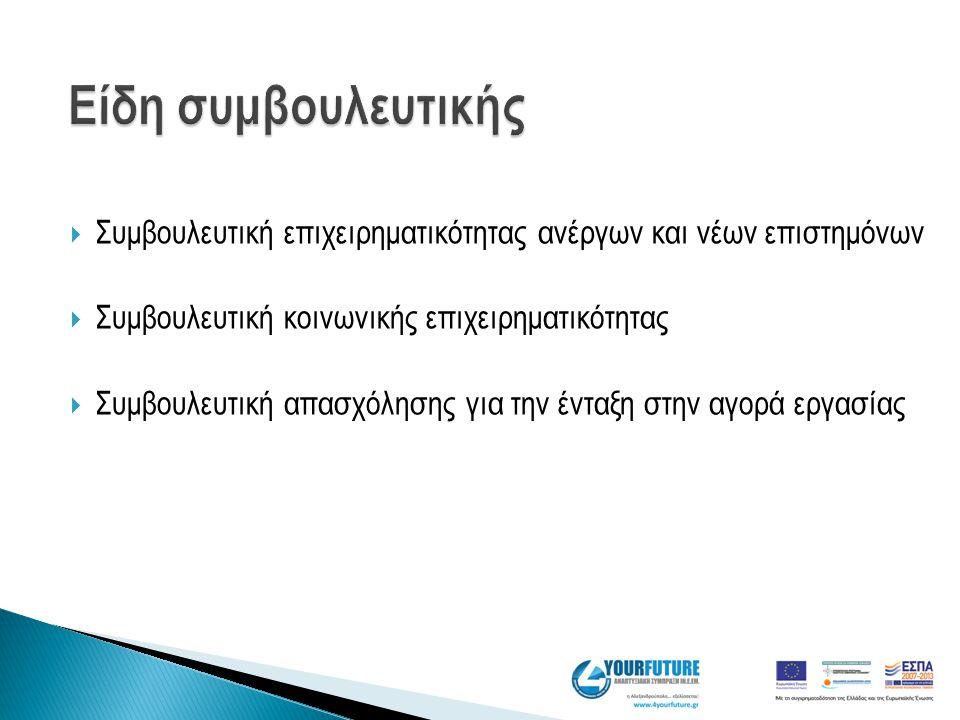  Συμβουλευτική επιχειρηματικότητας ανέργων και νέων επιστημόνων  Συμβουλευτική κοινωνικής επιχειρηματικότητας  Συμβουλευτική απασχόλησης για την έν