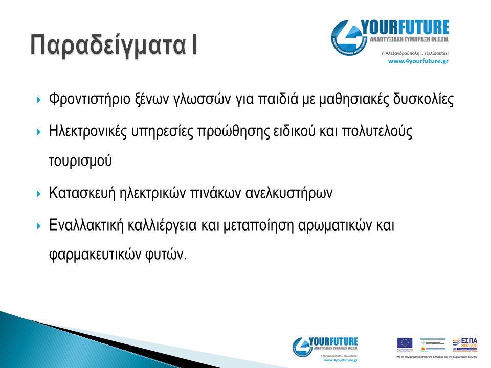  Φροντιστήριο ξένων γλωσσών για παιδιά με μαθησιακές δυσκολίες  Ηλεκτρονικές υπηρεσίες προώθησης ειδικού και πολυτελούς τουρισμού  Κατασκευή ηλεκτρ