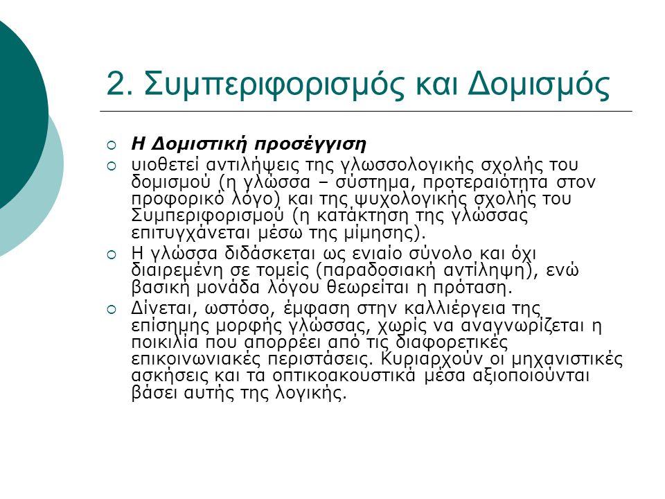 2. Συμπεριφορισμός και Δομισμός  Η Δομιστική προσέγγιση  υιοθετεί αντιλήψεις της γλωσσολογικής σχολής του δομισμού (η γλώσσα – σύστημα, προτεραιότητ