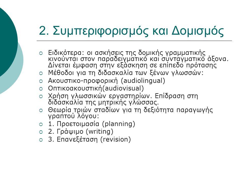 2. Συμπεριφορισμός και Δομισμός  Ειδικότερα: οι ασκήσεις της δομικής γραμματικής κινούνται στον παραδειγματικό και συνταγματικό άξονα. Δίνεται έμφαση