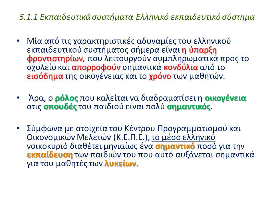 5.1.1 Εκπαιδευτικά συστήματα Ελληνικό εκπαιδευτικό σύστημα ηύπαρξη φροντιστηρίων απορροφούνκονδύλια εισόδημαχρόνο Μία από τις χαρακτηριστικές αδυναμίε