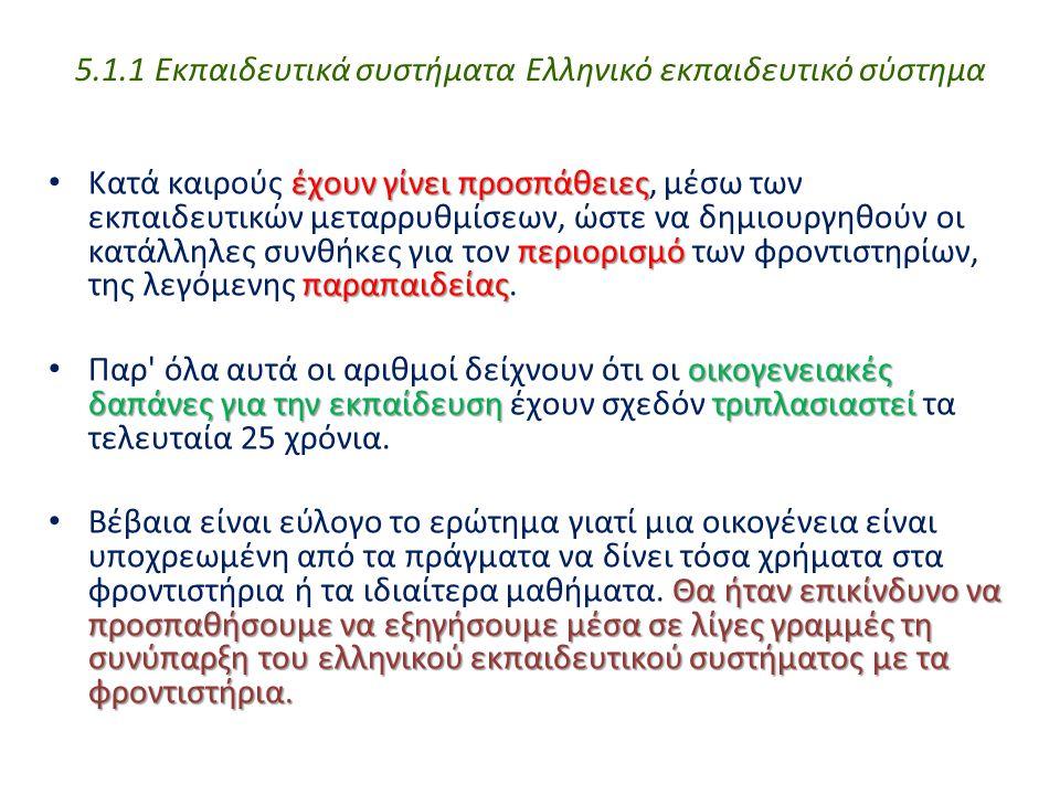 5.1.1 Εκπαιδευτικά συστήματα Ελληνικό εκπαιδευτικό σύστημα έχουν γίνει προσπάθειες περιορισμό παραπαιδείας Κατά καιρούς έχουν γίνει προσπάθειες, μέσω