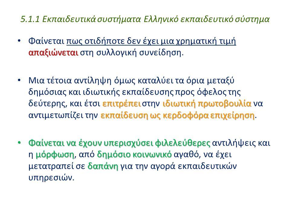 5.1.1 Εκπαιδευτικά συστήματα Ελληνικό εκπαιδευτικό σύστημα απαξιώνεται Φαίνεται πως οτιδήποτε δεν έχει μια χρηματική τιμή απαξιώνεται στη συλλογική συ