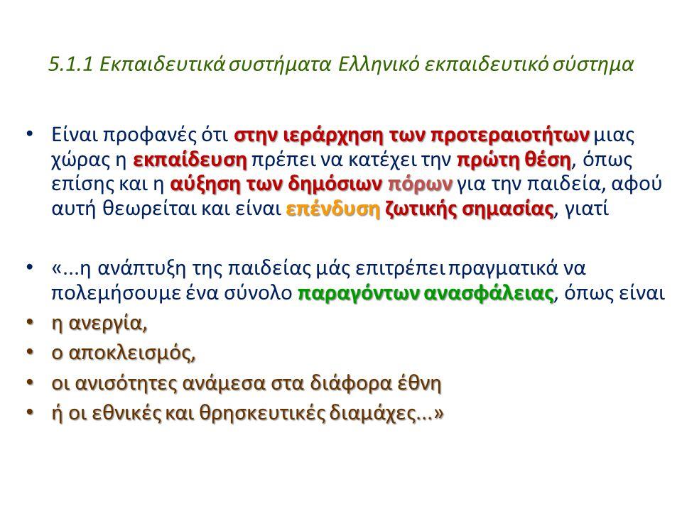 5.1.1 Εκπαιδευτικά συστήματα Ελληνικό εκπαιδευτικό σύστημα στην ιεράρχηση των προτεραιοτήτων εκπαίδευσηπρώτηθέση αύξησητωνδημόσιωνπόρων επένδυση ζωτικ