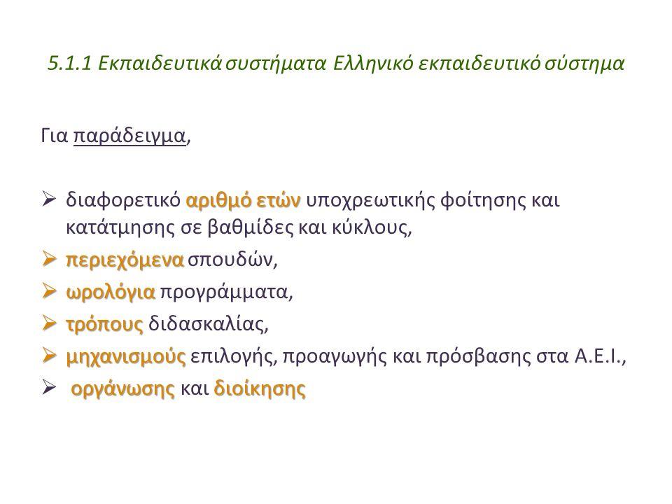 5.1.1 Εκπαιδευτικά συστήματα Ελληνικό εκπαιδευτικό σύστημα Για παράδειγμα, αριθμό ετών  διαφορετικό αριθμό ετών υποχρεωτικής φοίτησης και κατάτμησης