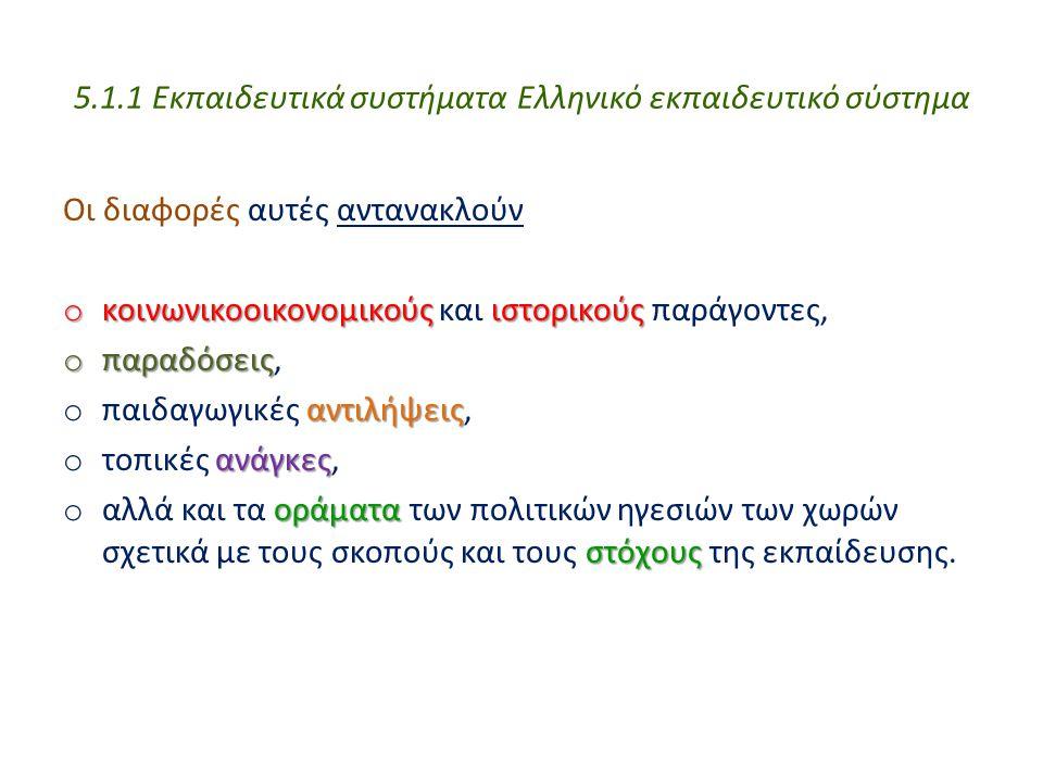 5.1.1 Εκπαιδευτικά συστήματα Ελληνικό εκπαιδευτικό σύστημα Οι διαφορές αυτές αντανακλούν o κοινωνικοοικονομικούςιστορικούς o κοινωνικοοικονομικούς και