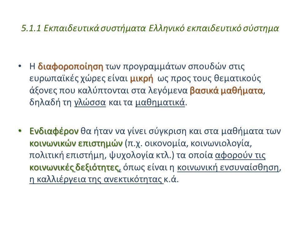 5.1.1 Εκπαιδευτικά συστήματα Ελληνικό εκπαιδευτικό σύστημα διαφοροποίηση μικρή βασικάμαθήματα Η διαφοροποίηση των προγραμμάτων σπουδών στις ευρωπαϊκές