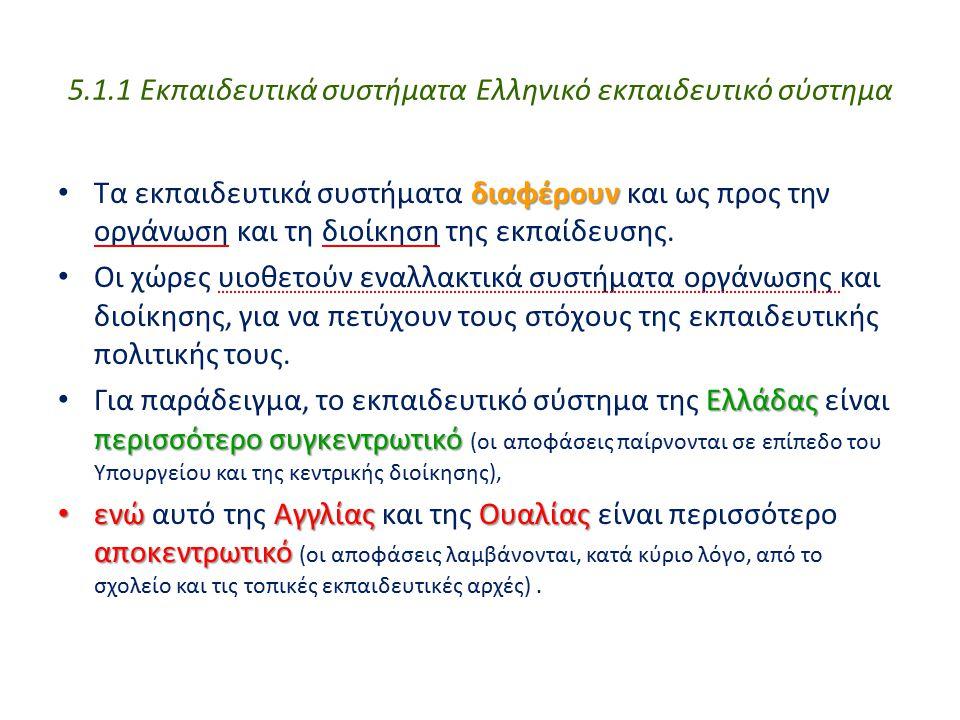 5.1.1 Εκπαιδευτικά συστήματα Ελληνικό εκπαιδευτικό σύστημα διαφέρουν Τα εκπαιδευτικά συστήματα διαφέρουν και ως προς την οργάνωση και τη διοίκηση της