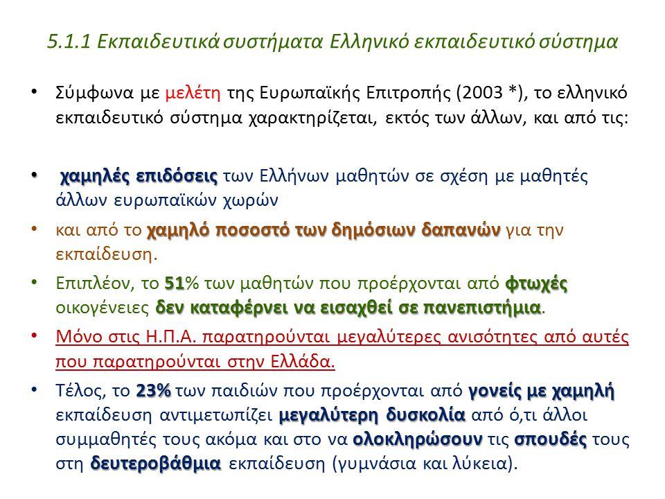 Σύμφωνα με μελέτη της Ευρωπαϊκής Επιτροπής (2003 *), το ελληνικό εκπαιδευτικό σύστημα χαρακτηρίζεται, εκτός των άλλων, και από τις: χαμηλές επιδόσεις