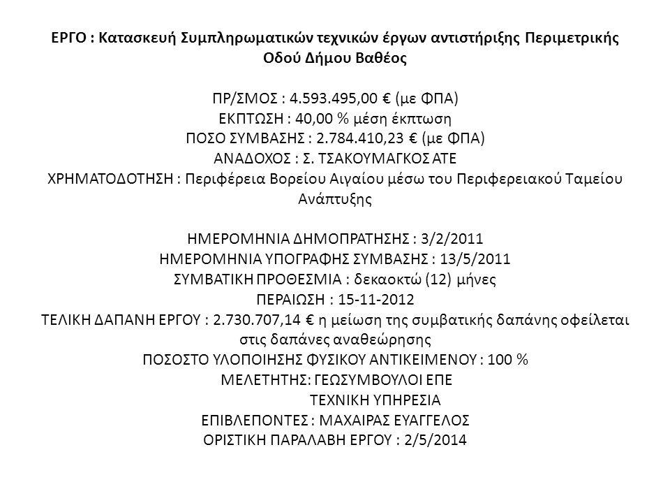 ΕΡΓΟ : Κατασκευή Συμπληρωματικών τεχνικών έργων αντιστήριξης Περιμετρικής Οδού Δήμου Βαθέος ΠΡ/ΣΜΟΣ : 4.593.495,00 € (με ΦΠΑ) ΕΚΠΤΩΣΗ : 40,00 % μέση έκπτωση ΠΟΣΟ ΣΥΜΒΑΣΗΣ : 2.784.410,23 € (με ΦΠΑ) ΑΝΑΔΟΧΟΣ : Σ.