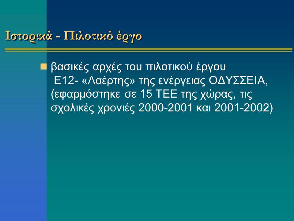 Ιστορικά - Πιλοτικό έργο βασικές αρχές του πιλοτικού έργου Ε12- «Λαέρτης» της ενέργειας ΟΔΥΣΣΕΙΑ, (εφαρμόστηκε σε 15 ΤΕΕ της χώρας, τις σχολικές χρονιές 2000-2001 και 2001-2002)