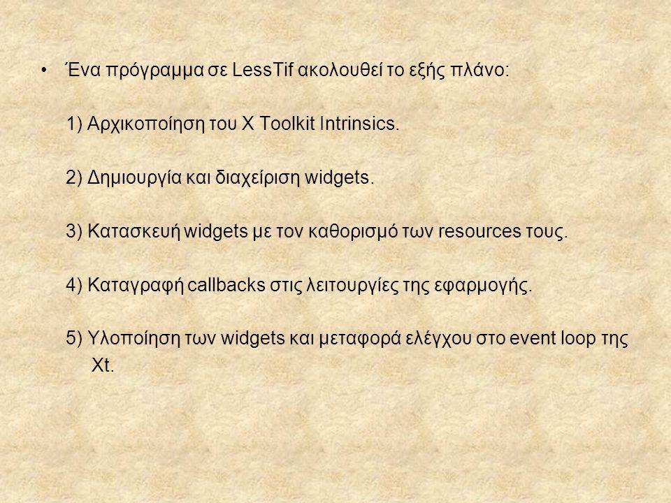 Ένα πρόγραμμα σε LessTif ακολουθεί το εξής πλάνο: 1) Αρχικοποίηση του X Toolkit Intrinsics. 2) Δημιουργία και διαχείριση widgets. 3) Κατασκευή widgets