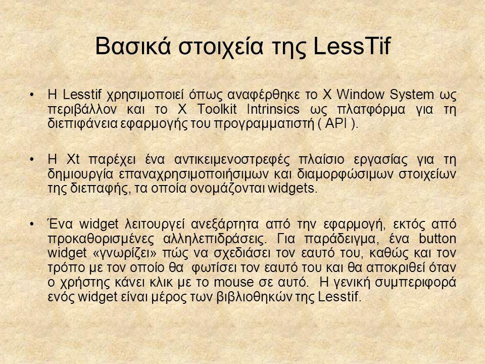 Βασικά στοιχεία της LessTif H Lesstif χρησιμοποιεί όπως αναφέρθηκε το Χ Window System ως περιβάλλον και το X Toolkit Intrinsics ως πλατφόρμα για τη διεπιφάνεια εφαρμογής του προγραμματιστή ( API ).
