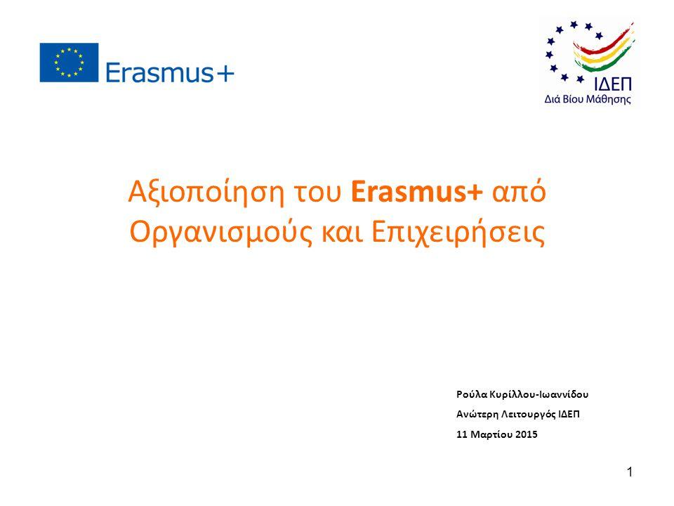 Ρούλα Κυρίλλου-Ιωαννίδου Ανώτερη Λειτουργός ΙΔΕΠ 11 Μαρτίου 2015 Αξιοποίηση του Erasmus+ από Οργανισμούς και Επιχειρήσεις 1