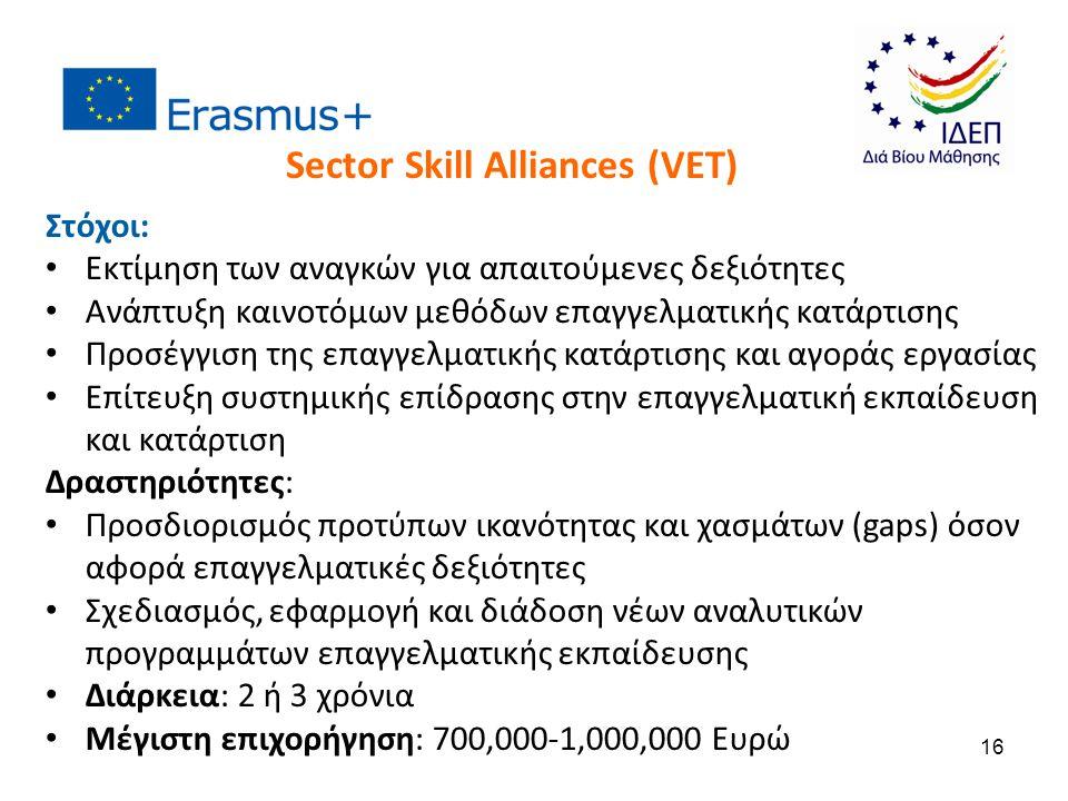 Στόχοι: Εκτίμηση των αναγκών για απαιτούμενες δεξιότητες Ανάπτυξη καινοτόμων μεθόδων επαγγελματικής κατάρτισης Προσέγγιση της επαγγελματικής κατάρτισης και αγοράς εργασίας Επίτευξη συστημικής επίδρασης στην επαγγελματική εκπαίδευση και κατάρτιση Δραστηριότητες: Προσδιορισμός προτύπων ικανότητας και χασμάτων (gaps) όσον αφορά επαγγελματικές δεξιότητες Σχεδιασμός, εφαρμογή και διάδοση νέων αναλυτικών προγραμμάτων επαγγελματικής εκπαίδευσης Διάρκεια: 2 ή 3 χρόνια Μέγιστη επιχορήγηση: 700,000-1,000,000 Ευρώ Sector Skill Alliances (VET) 16