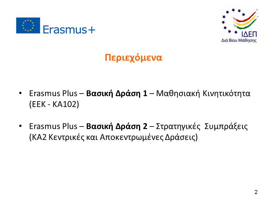 Erasmus Plus – Βασική Δράση 1 – Μαθησιακή Κινητικότητα (ΕΕΚ - KA102) Erasmus Plus – Βασική Δράση 2 – Στρατηγικές Συμπράξεις (ΚΑ2 Κεντρικές και Αποκεντ