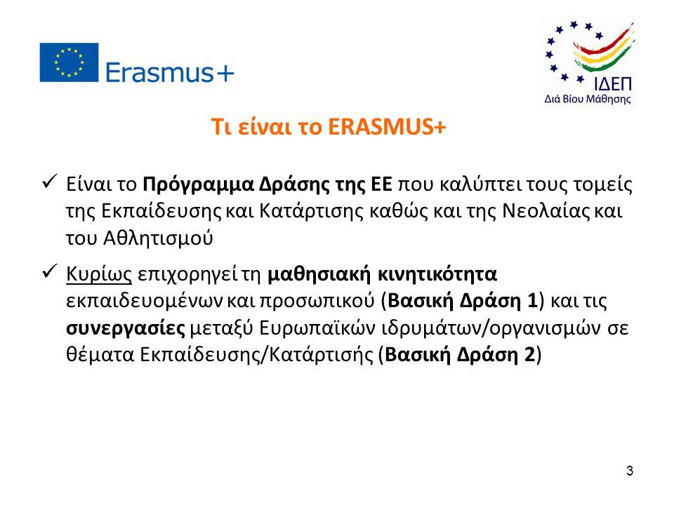 Είναι το Πρόγραμμα Δράσης της ΕΕ που καλύπτει τους τομείς της Εκπαίδευσης και Κατάρτισης καθώς και της Νεολαίας και του Αθλητισμού Κυρίως επιχορηγεί τ