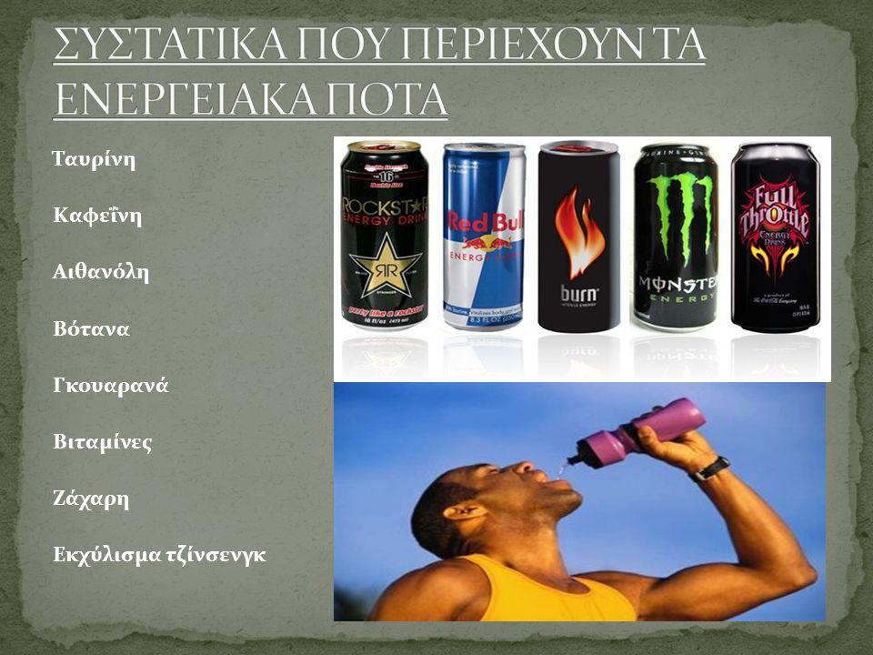 Ταυρίνη Καφεΐνη Αιθανόλη Βότανα Γκουαρανά Βιταμίνες Ζάχαρη Εκχύλισμα τζίνσενγκ