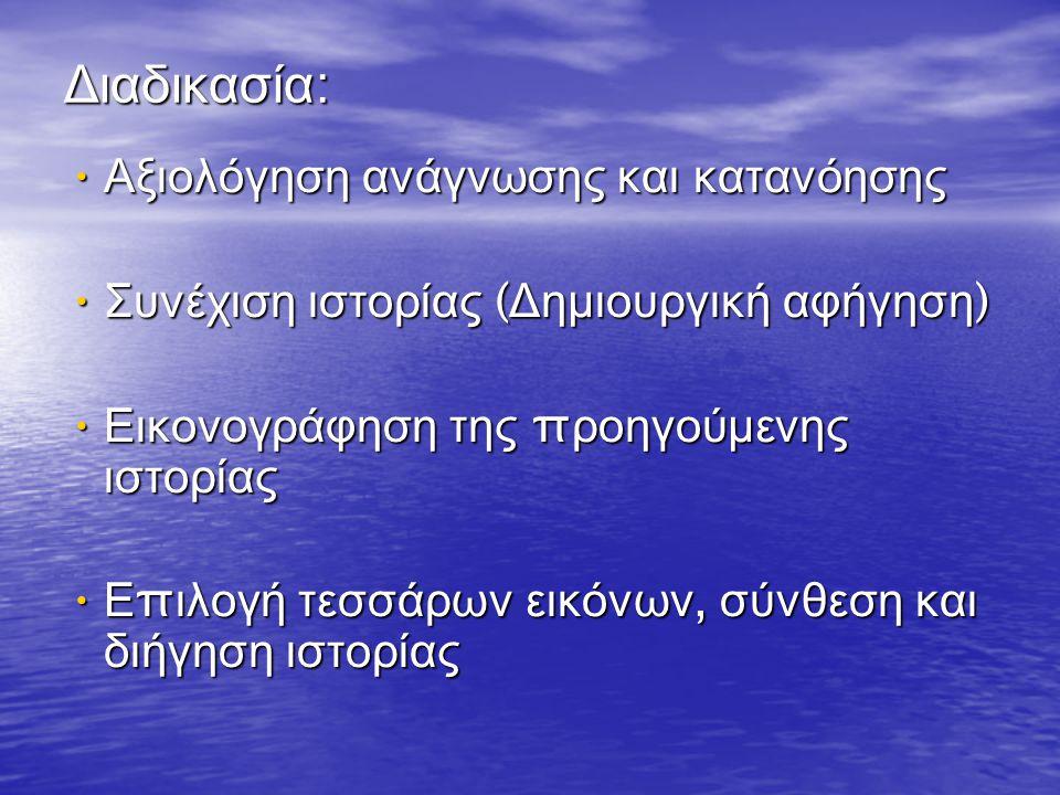 Ομαδική συγγραφή και εικονογράφηση ιστορίας Σχεδιασμός ιστορίας με σκίτσα (π ροσυγγραφικό στάδιο ) Σχεδιασμός ιστορίας με σκίτσα (π ροσυγγραφικό στάδιο ) Σύντομο κείμενο σε κάθε σκίτσο Σύντομο κείμενο σε κάθε σκίτσο Αλλαγές και διορθώσεις στο κείμενο Αλλαγές και διορθώσεις στο κείμενο Τελική εικονογράφηση Τελική εικονογράφηση Συγγραφή κειμένου ( συγγραφικό στάδιο ) Συγγραφή κειμένου ( συγγραφικό στάδιο ) Έλεγχος για λάθη και π αραλείψεις α π ό τους μαθητές ( ε π ανέλεγχος ) Έλεγχος για λάθη και π αραλείψεις α π ό τους μαθητές ( ε π ανέλεγχος ) Τελικές διορθώσεις α π ό τον δάσκαλο Τελικές διορθώσεις α π ό τον δάσκαλο