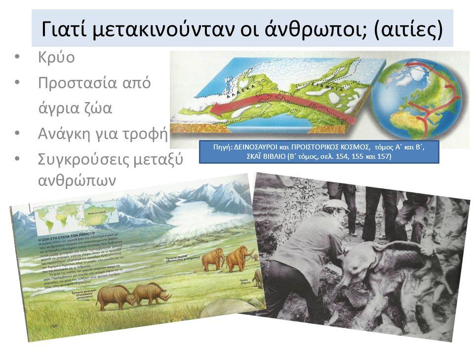 Γιατί μετακινούνταν οι άνθρωποι; (αιτίες) Κρύο Προστασία από άγρια ζώα Ανάγκη για τροφή Συγκρούσεις μεταξύ ανθρώπων Πηγή: ΔΕΙΝΟΣΑΥΡΟΙ και ΠΡΟΙΣΤΟΡΙΚΟΣ ΚΟΣΜΟΣ, τόμος Α΄ και Β΄, ΣΚΑΪ ΒΙΒΛΙΟ (Β΄ τόμος, σελ.