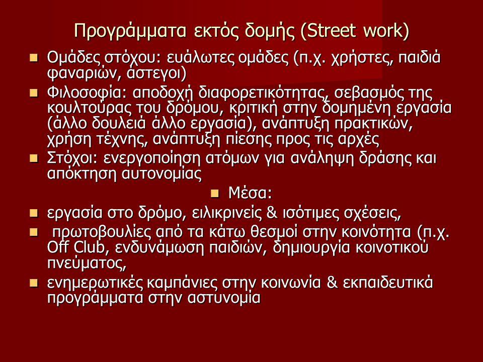 Προγράμματα εκτός δομής (Street work) Ομάδες στόχου: ευάλωτες ομάδες (π.χ. χρήστες, παιδιά φαναριών, άστεγοι) Ομάδες στόχου: ευάλωτες ομάδες (π.χ. χρή