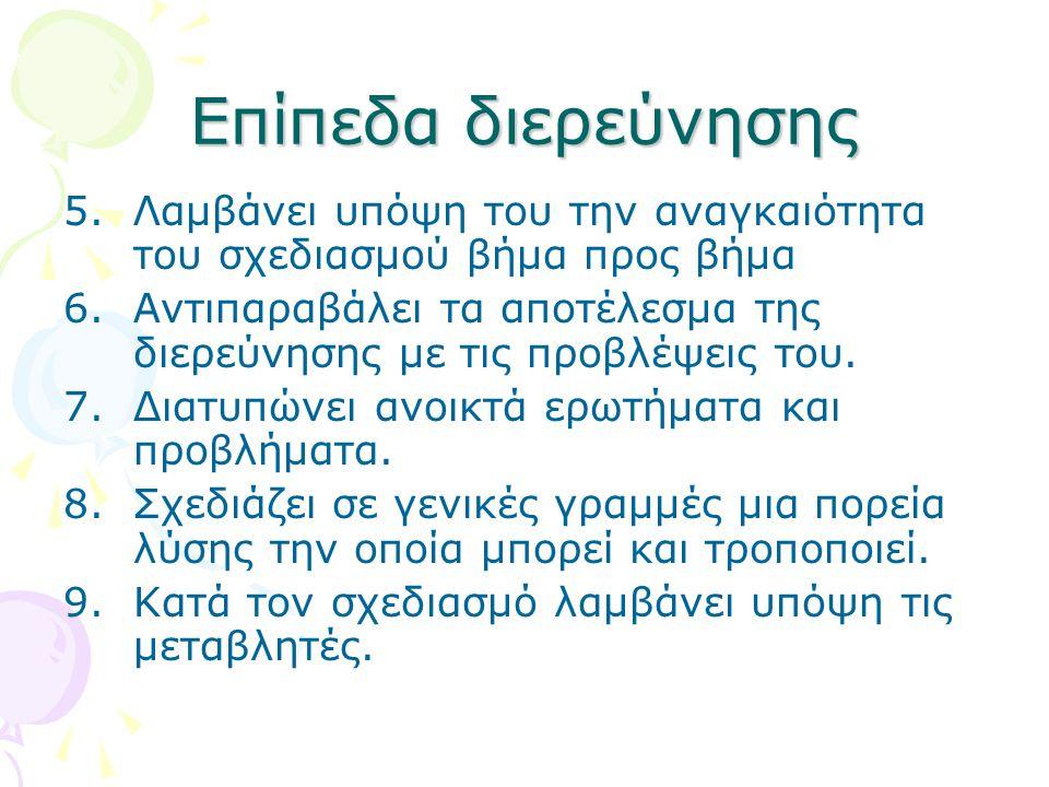 Επίπεδα διερεύνησης 5.Λαμβάνει υπόψη του την αναγκαιότητα του σχεδιασμού βήμα προς βήμα 6.Αντιπαραβάλει τα αποτέλεσμα της διερεύνησης με τις προβλέψεις του.