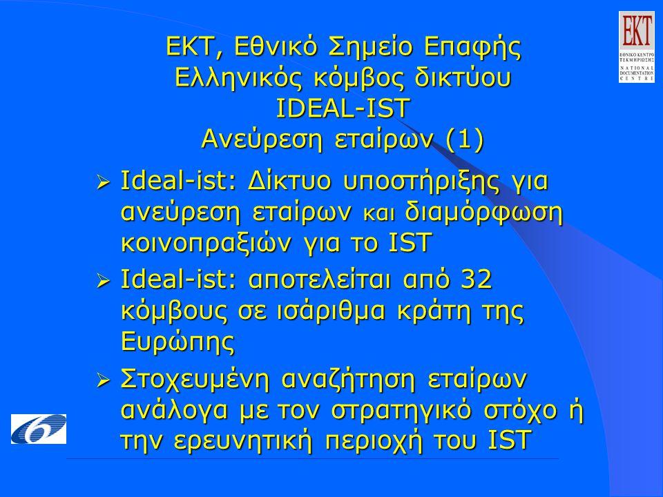 ΕΚΤ, Εθνικό Σημείο Επαφής Ελληνικός κόμβος δικτύου IDEAL-IST Ανεύρεση εταίρων (1)  Ideal-ist: Δίκτυο υποστήριξης για ανεύρεση εταίρων και διαμόρφωση κοινοπραξιών για το IST  Ideal-ist: αποτελείται από 32 κόμβους σε ισάριθμα κράτη της Ευρώπης  Στοχευμένη αναζήτηση εταίρων ανάλογα με τον στρατηγικό στόχο ή την ερευνητική περιοχή του IST