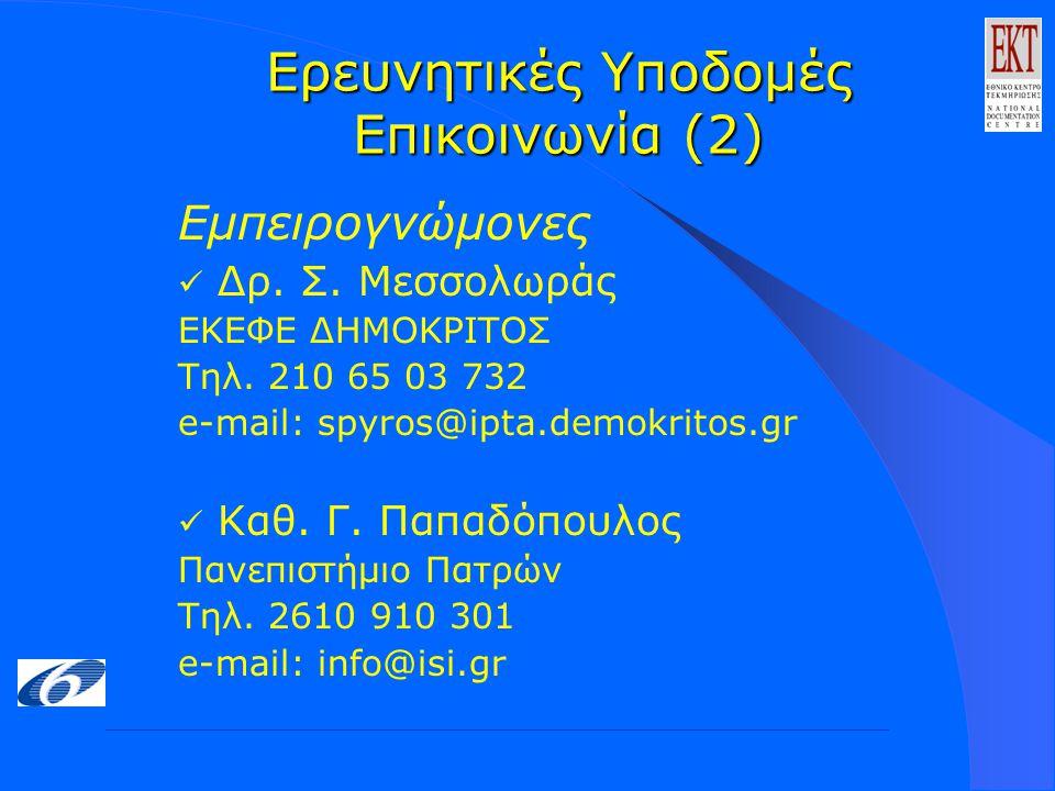 Ερευνητικές Υποδομές Επικοινωνία (2) Εμπειρογνώμονες Δρ.