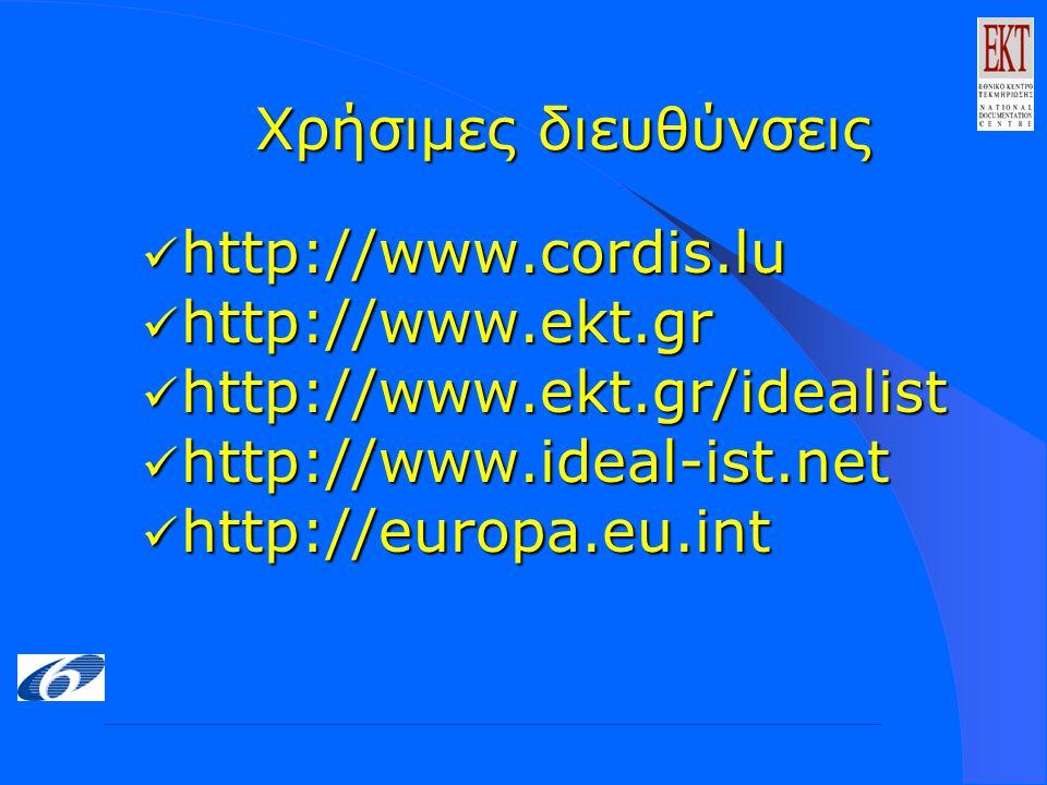 Χρήσιμες διευθύνσεις http://www.cordis.lu http://www.cordis.lu http://www.ekt.gr http://www.ekt.gr http://www.ekt.gr/idealist http://www.ekt.gr/idealist http://www.ideal-ist.net http://www.ideal-ist.net http://europa.eu.int http://europa.eu.int