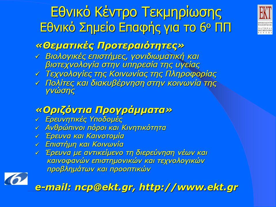 Εθνικό Κέντρο Τεκμηρίωσης Εθνικό Σημείο Επαφής για το 6 ο ΠΠ «Θεματικές Προτεραιότητες» Βιολογικές επιστήμες, γονιδιωματική και βιοτεχνολογία στην υπηρεσία της υγείας Βιολογικές επιστήμες, γονιδιωματική και βιοτεχνολογία στην υπηρεσία της υγείας Τεχνολογίες της Κοινωνίας της Πληροφορίας Τεχνολογίες της Κοινωνίας της Πληροφορίας Πολίτες και διακυβέρνηση στην κοινωνία της γνώσης Πολίτες και διακυβέρνηση στην κοινωνία της γνώσης «Οριζόντια Προγράμματα» Ερευνητικές Υποδομές Ερευνητικές Υποδομές Ανθρώπινοι πόροι και Κινητικότητα Ανθρώπινοι πόροι και Κινητικότητα Έρευνα και Καινοτομία Έρευνα και Καινοτομία Επιστήμη και Κοινωνία Επιστήμη και Κοινωνία Έρευνα με αντικείμενο τη διερεύνηση νέων και Έρευνα με αντικείμενο τη διερεύνηση νέων και καινοφανών επιστημονικών και τεχνολογικών καινοφανών επιστημονικών και τεχνολογικών προβλημάτων και προοπτικών προβλημάτων και προοπτικών e-mail: ncp@ekt.gr, http://www.ekt.gr