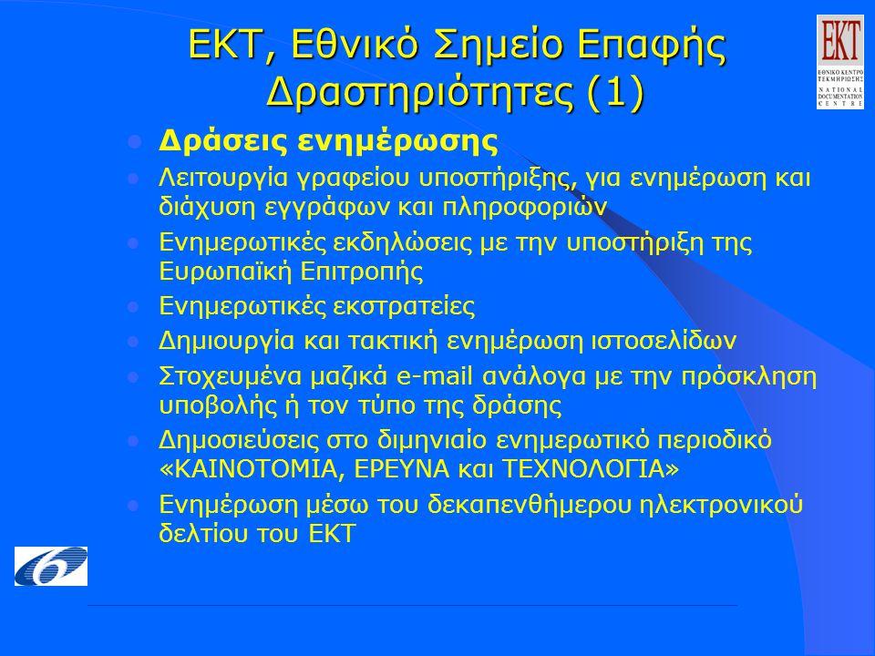 ΕΚΤ, Εθνικό Σημείο Επαφής Δραστηριότητες (1) Δράσεις ενημέρωσης Λειτουργία γραφείου υποστήριξης, για ενημέρωση και διάχυση εγγράφων και πληροφοριών Ενημερωτικές εκδηλώσεις με την υποστήριξη της Ευρωπαϊκή Επιτροπής Ενημερωτικές εκστρατείες Δημιουργία και τακτική ενημέρωση ιστοσελίδων Στοχευμένα μαζικά e-mail ανάλογα με την πρόσκληση υποβολής ή τον τύπο της δράσης Δημοσιεύσεις στο διμηνιαίο ενημερωτικό περιοδικό «ΚΑΙΝΟΤΟΜΙΑ, ΕΡΕΥΝΑ και ΤΕΧΝΟΛΟΓΙΑ» Ενημέρωση μέσω του δεκαπενθήμερου ηλεκτρονικού δελτίου του ΕΚΤ